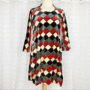 Vintage 60s 70s diamond print velour tunic dress